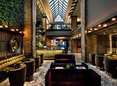Thompson Chicago, a Thompson Hotel Chicago, Illinois Hip Lounge Luxury Modern Trip Ideas Lobby restaurant Resort Bar mansion stone