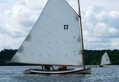 The Tuckup is a fifteen foot gaff rigged catboat made of cedar planking on oak or locust frames.
