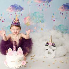 Only Unicorn Letter *Just Unicorns with padded horn/floral headband, no other design* Smash Cake Girl, 1st Birthday Cake Smash, 1st Birthday Girls, First Birthday Parties, Birthday Party Decorations, 1st Birthday Photoshoot, First Birthday Photos, Unicorn Themed Birthday, Unicorn Party