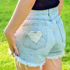 DIY fashion for cheap: Classic high waisted cutoffs with a cute heart cutout. (tutorial)