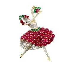 Burmese No Heat Ruby Rose Cut Diamond Gold Ballerina Brooch 1 Antique Brooches, Gold Brooches, Cartier, Modern Jewelry, Fine Jewelry, Vintage Jewelry, Van Cleef And Arpels Jewelry, Burmese Ruby, Ruby Rose