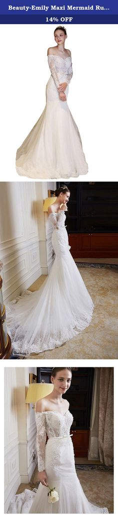 Beauty-Emily Maxi Mermaid Ruffles Bowknot Boat Neck Sheer Long Sleeve Rhinestone Pearl Lace Chapel Train Lace-Up Women's Clothing Wedding Gowns Color White,Size Custom. This dress is of high quality and good price performance that you could find ever. It will be sold at a price of more than 1000 dollars in your local store. Our factory is in China so we could provide you such high price performance dress. Every dress is made manually by top sailor. Photos are all real photos token by our…