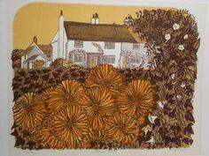 Country Garden and Cottages, original linocut by Robert Tavener Linocut Prints, Art Prints, Block Prints, Tiny Flowers, Antique Prints, Landscape Art, Home Art, Illustration, Garden Cottage