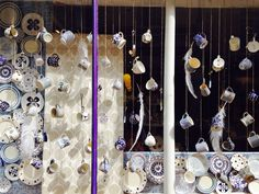 My Easter China and glass window display for Rossiters of Bath. Concept behind the design was the idea of falling feathers