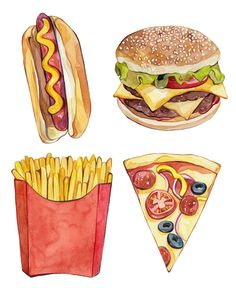 Laura manfre bestpins i 2019 food drawing, food painting och Watercolor Food, Watercolor Illustration, Food Sketch, Food Painting, Food Drawing, Hot Dog Drawing, Drawing Drawing, Mets, Food Illustrations