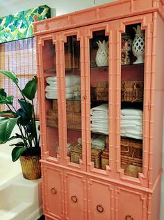 mollie's mom: First - Get Organized China Cabinet turned linen closet Sherwin Williams Ravishing Coral Redo Furniture, Painted Furniture, Painted Bamboo, Painted China Cabinets, Paint Furniture, House Painting, Faux Bamboo, Furniture Makeover, Bamboo Furniture Diy