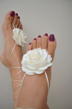 LUX   White flower Beach wedding barefoot by ArtofAccessory, $30.00