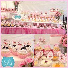 Paal Uh. Mesa de Postres & Snacks. Dulces. Rosa. Búho. Niña. Baby Shower. Pink.   Candybar. Cupcakes. Cherry