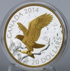 Canada 2014 Bald Eagle Perched with Fish 1 oz Pure Silver $20 Proof Gold Plating