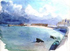 Alger la baie et l'Amirauté - Peinture,  30x40 cm ©2010 par Catherine Rossi -