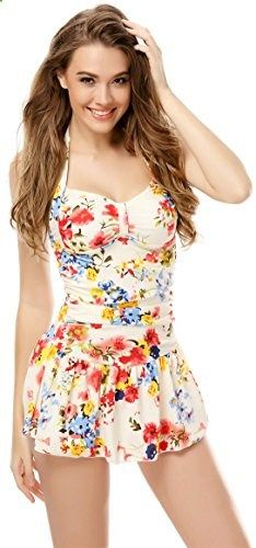 One Piece Floral Ruched Halter Push Up Slim Tummy Control Tankini Swim Dress Medium. Check website for more description.