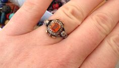 Stunning antique blackamoor ring padparadscha ?1800's rare ?