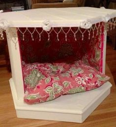 I made this dog/cat bed using an old end table.   https://www.facebook.com/dearlyreloveit~#!/pages/Dearly-ReLoveIt/545401728810019