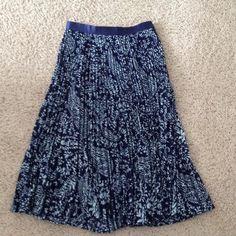 Skirt Blue and white paisley designed skirt.  Pleated.  Blue ribbon at waist. Anthropologie Skirts