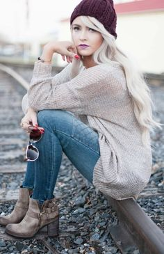 Biker jeans and cozy sweater