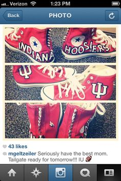 IU Hoosier tailgating sneakers... Seriously need these!