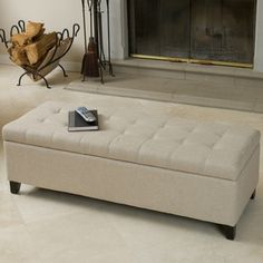 Mission Tufted Fabric Storage Ottoman Bench by Christopher Knight Home (Beige), Brown Fabric Storage Ottoman, Tufted Storage Bench, Storage Benches, Tufted Bench, Storage Ideas, Banquette, My Living Room, Bedroom Furniture, Luxury Furniture
