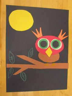 Construction Paper Owl (toddler art project with help from Mama).