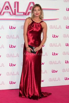 Laura Whitmore Pure Ruby Floor Length Fit Flare Evening Prom Dress ITV Gala 2016