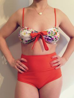Two pieces swimsuits, floral top bandeau, orange bottom, Swimwear - Women Bathing suit - Bikini, Small and Large ready to ship