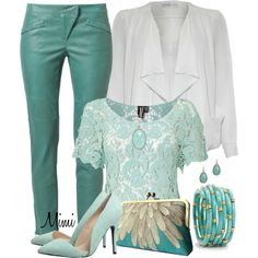 Turquoise Leather Pants, created by myfavoritethings-mimi on Polyvore