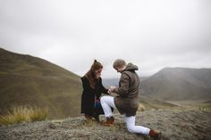 He got down on one knee in the middle of their hike, and the mountains of New Zealand made the perfect background for this dream proposal!