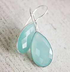 Sea Green Chalcedony Earrings  Aqua Chalcedony  Silver by OhKuol, $65.00