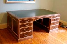 Large Walnut and maple partners desk with leather insert top #desk #furniture