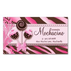 1108 best bakery business cards images on pinterest bakery 311 cake pops business card bakery pink brwn zebra reheart Image collections