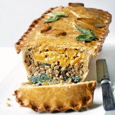 Layered Squash, Barley & Spinach Pie Recipe Main Dishes with butternut squash, olive oil, onion, garlic cloves, mushrooms, chestnuts, pearl barley, vegetable stock, dark soy sauce, lemon, ricotta, soft cheese, sage leaves, baby spinach, parsley leaves, plain flour, butter, vegetable shortening, milk, eggs, bay leaves