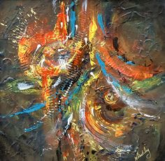 "Helen Wheatley ""Tempest' by International Society of Acrylic Painters Florida Acrylic ~ 9 x 9"