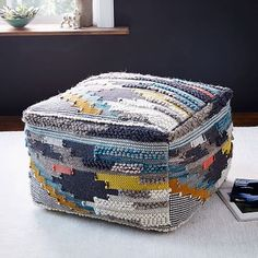 Multi Pixel Woven Wool Pouf #westelm - oh the texture and colors!!! Our kids LOVE their poofs!