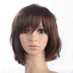 Women Short Wigs Synthetic Ombre Brown Wig Natural Wavy BOB Wig Classic Cap #Namecute #Wig #daily