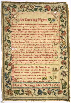 Sampler 1737 Wool, embroidered with silk in cross, tent and satin stitch Height 33.6 cm Width 23.5 cm T.318-1960
