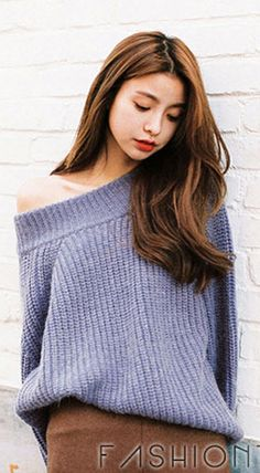 Fashiontroy Hipster & Indie long puff sleeves crew neck purple pink ribbed-knit cotton blend sweater