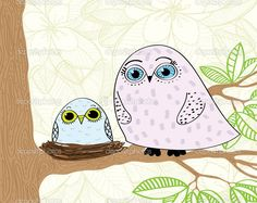 'Owls Sitting on a Tree' by Natali Snailcat