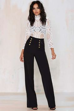 Misha Collection Katia Palazzo Pant are black and gold and bomb all over!