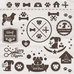 Some different elements we could pull into the design (Pets vector dog icon set Free Vector) Grooming Shop, Dog Grooming Business, Pet Grooming, Dog Vector, Vector Free, Vector Icons, Pet Shop, Icon Set, Pet Hotel