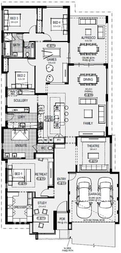 Display Homes » Home Group WA Modern House Plans, Dream House Plans, House Floor Plans, Walk In Robe, Apartment Floor Plans, House Blueprints, Display Homes, Dream Home Design, Front Windows