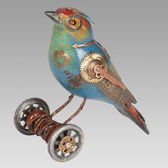 Gorgeous Steampunk Song Bird Sculptures by Mullanium