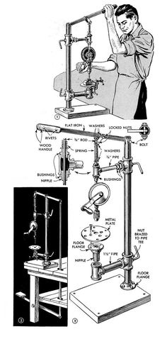 """How to Build a Hand Powered Drill Press - DIY - MOTHER EARTH NEWS - - Enjoy this """"how-to"""" excerpt on the assembly of a hand-powered drill press from when basic construction materials were scarce. Antique Tools, Vintage Tools, Home Tools, Diy Tools, Drill Press Diy, Homemade Drill Press, Atelier Creation, Mother Earth News, Homemade Tools"""