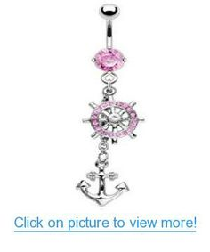 Dangling Anchor and Ship Wheel Sexy Belly Button Navel Ring Dangle Body Jewelry Piercing with Pink Cz Gems and Surgical Steel Bar 14 Gauge Nemesis Body JewelryTM Body Jewelry Piercing, Body Piercing, Piercings, Belly Rings, Belly Button Rings, Anchor Rings, Ship Wheel, Steel Bar, Navel