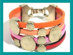 Urban Bracelet in leather and Zamak * GIFT for her * Colorful Leather Bracelet  * BUBBLES-M * by Cozy Detailz