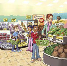 Alışveriş, süpermarket, etiket, meyve, sebze