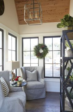 Sunroom. Saw this little sunroom off the kitchen in person and want one of my own now!