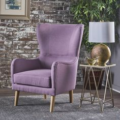 Saunder Winged Fabric Club Chair by Christopher Knight Home (Light Lavender), Purple