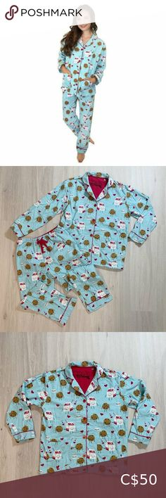 P.J. Salvage Flannel Milk and Cookies Pajama Set PJ Salvage is excellent quality. These are made out of heavier weight 100% cotton flannel making them so cozy. Classic pajama style with notched collar and piping details as well as pockets in the front of the top and small slits on the sides. The pants have an elastic waist and a drawstring for added comfort. Adorable all-over Milk and Cookies print on an Aqua background. Size Small - In great used condition. Very slight pilling that I have… Pj Pants, Pajama Shorts, White Lips, Aqua Background, Pajama Top, Stretch Dress, Cashmere Sweaters, Elastic Waist, Flannel