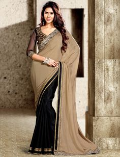 USD 58.19 Beige Georgette Half and Half Party Wear Saree 44124