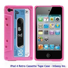 Pink Silicone Cassette Tape Case for Apple iPod Touch  4th Generation