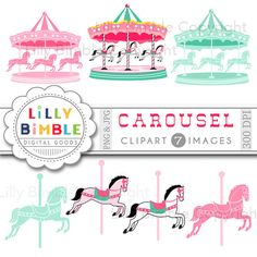 40% off Carousel Digital Scrapbook papers Merry Go by LillyBimble